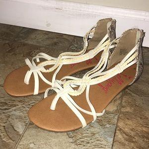 White, cream, snakeskin Jellypop sandals